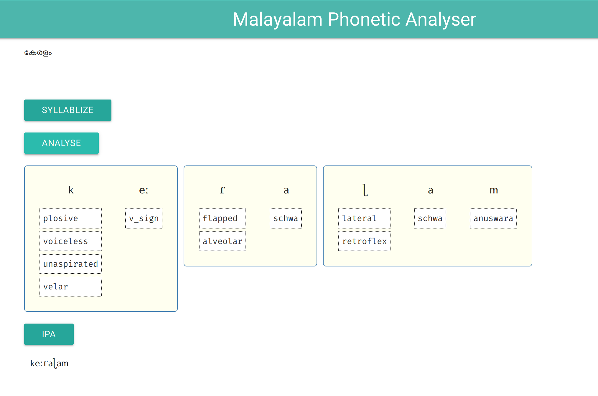 Malayalam Phonetic analyser web demo